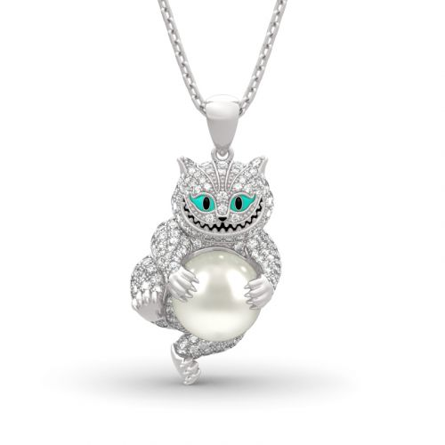 "Jeulia Collier en Argent Sterling""Grinning Like a Cheshire Cat"""
