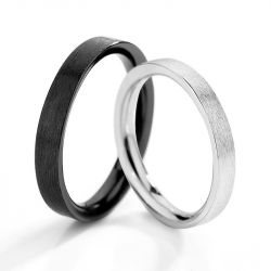Jeulia Alliances Duo Simple Taille Réglable en Argent Sterling pour Couple