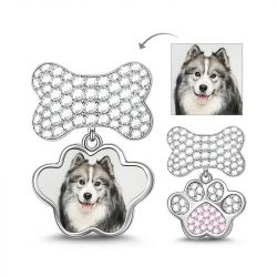 Charm Photo Empreinte de Patte et Os en Argent Sterling