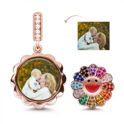 Charm Photo Tournesol en Argent Sterling