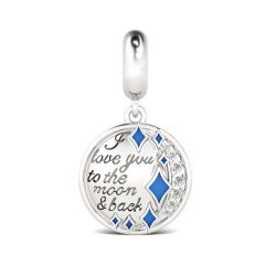 I Love You to the Moon and Back en Argent Sterling