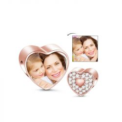 Charm Photo Coeur Or Rose en Argent Sterling