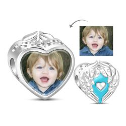 Charm Photo Coeur en Argent Sterling