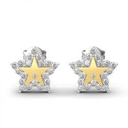 "Jeulia ""A Star Is Born"" Boucles d'Oreilles Gravées en Argent Sterling"