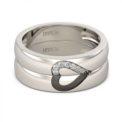 Jeulia Alliances Duo Coeur en Argent Sterling