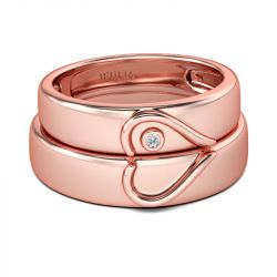 Jeulia Ensemble d'Alliance Coeur Or Rose en Argent Sterling