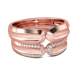 Jeulia Ensemble d'Alliance Or Rose en Argent Sterling Coupe Ronde