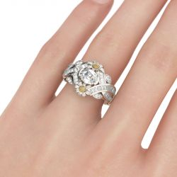 Jeulia Bague Marguerite Twist en Argent Sterling Coupe Ovale