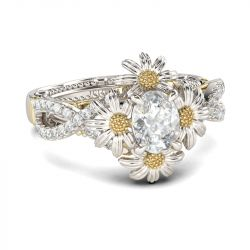 Jeulia Bague Marguerite Twist Bicolore en Argent Sterling Coupe Ovale