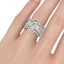 Jeulia Bague Bypass Enhancer en Argent Sterling Coupe Princesse