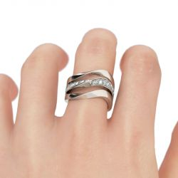 Jeulia Bague Cocktail Courbée en Argent Sterling