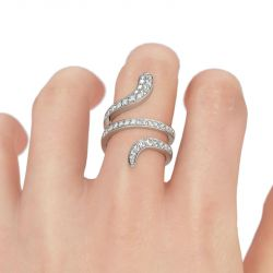 Jeulia Bague Cocktail en Argent Sterling Forme Serpent