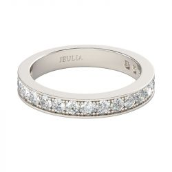 Jeulia Alliance Femme Channel Set Simple en Argent Sterling