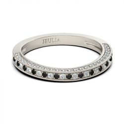 Jeulia Alliance Femme Courbée en Argent Sterling Coupe Ronde