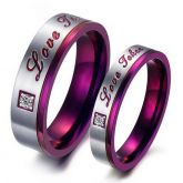 Jeulia  Purple Color Stainless Steel Couple Rings
