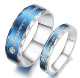Jeulia  Unique Blue Stone Titanium Steel Couple Ring