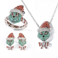 "Jeulia ""Holiday Cheermeister"" Ensemble Bijoux en Argent Sterling Inspiré de Monstre Noël"