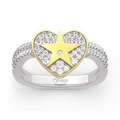 "Jeulia ""A Star Is Born"" Bague en Argent Sterling Coupe Coeur"