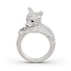 "Jeulia ""Always By My Heart"" Bague Chiot en Argent Sterling"