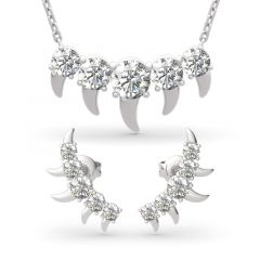Jeulia Ensemble de Bijoux en Argent Sterling Coupe Ronde Spike Design