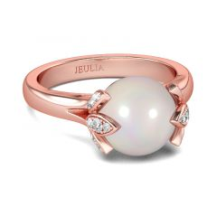 Jeulia Bague Perle de Culture Or Rose en Argent Sterling