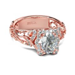 Jeulia Bague Halo en Argent Sterling Ton Or Rose Coupe Ovale