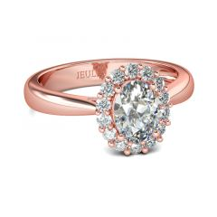 Jeulia Bague Halo Ton Or Rose en Argent Sterling Coupe Ovale