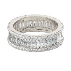 Jeulia Alliance Femme en Argent Sterling Coupe Baguette