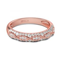 Jeulia Alliance Femme Milgrain Plaqué Or Rose en Argent Sterling Coupe Ronde