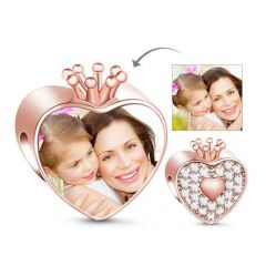 Charme Photo Couronne Coeur Or Rose en Argent Sterling